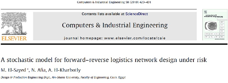 مقاله ترجمه شده یک مدل تصادفی برای طراحی شبکه لجستیکی با جریان رو به جلو و بازگشت تحت ریسک